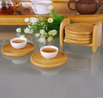 创意防滑竹制茶杯垫
