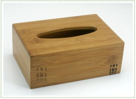 高档竹制长方形纸巾盒