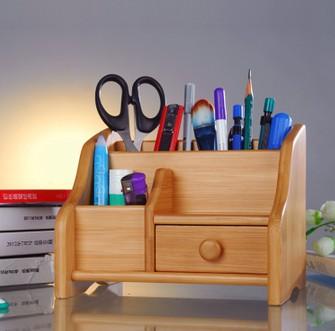 办公桌面多功能竹收纳盒图片