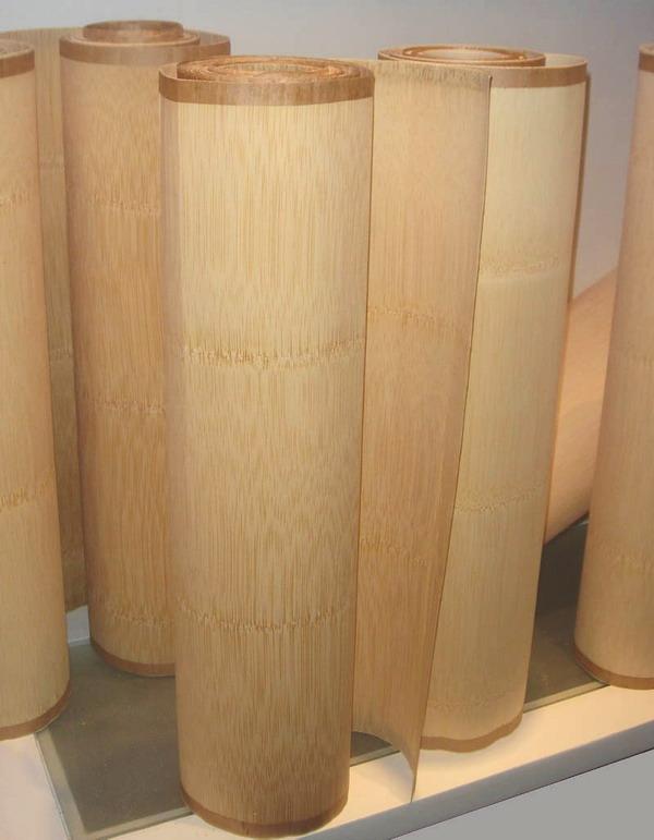 材进行高温蒸煮软化后,采用先进的刨切机进行旋切,我厂的竹皮又称为竹薄木,产品竹纹清晰,色泽明亮,颜色均匀,修补面极少,同时是绿色环保材料,品质出众,装饰效果极佳,我厂竹皮产品的种类有本色竹皮、碳化竹皮、平压竹皮、侧压竹皮、斑马竹皮、编织竹皮等等,品种十分齐全。 桃花江实业的常规竹皮规格为:2500*430*0.